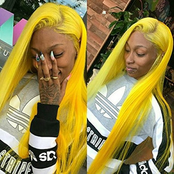 Yokada Hair Wigs Virgin Human Hair Straight Yellow Color Hair 130% Density Lighter Brown Lace Hair with Baby Hair for All Women (20inch, lace front wig)