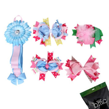 Bundle Monster 5 pc Baby Girls Variety Ribbon Hair Clip Accessory Holder - Set 1