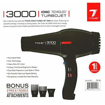 Tyche Professional Hair Dryer Turbo Jet 3000 Black (1 Year Warranty)