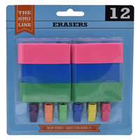 The Supply Line Non-Toxic Erasers, Assorted, Pack of 12