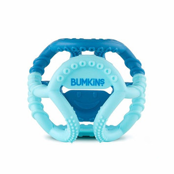 Bumkins Silicone Sensory Teether Ball, Baby Teether, Infant Teether, Tactile, Flexible, Soft, Multi Texture, Bacteria Resistant - Blue [Bumkins]