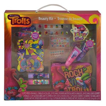 Trolls Cosmetic Set Included Nail Gems, Lip Glosses, Lip Blam, Stickers, Coin Purse & Nail Stickers