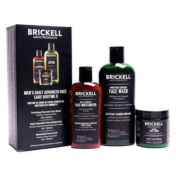 Brickell Men's Daily Advanced Face Care Routine II - Activated Charcoal Facial Cleanser + Face Scrub + Face Moisturizer Lotion - Natural & Organic [Scented]
