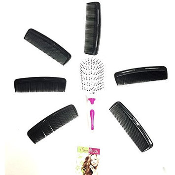 Hair Brush and Comb combo - 1 Pack of Detangling Hair Brushes and 6 pack Comb