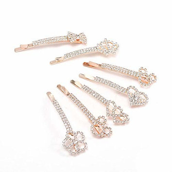7PCS Rhinestone Crystal Clip Hair Pin Clamps Accessories Bobby Pin Headwear for Women Girls