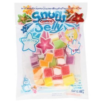 Queen Snow Jelly Marshmallow Gelatin Rainbow Cube Fruity Flavour 100 g. By Thaienjoy