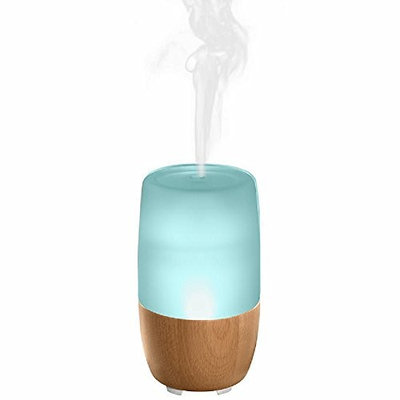 Homedics Ellia Reflect Oil Diffuser with Color-changing Light and Uplifting Sounds +FREE 3 Essential Oils, Natural Brown Finish