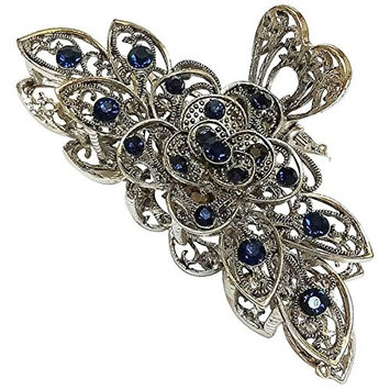 Vintage Chic Metal Alloy Rhinestone Large Size Fancy Hair Claw Jaw Clips Pins - Women Fashion Retro Flowers Hair Catch Barrette Hair Updo Grip Hair Accessories for Thick Hair