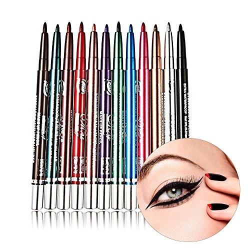 MONSTINA Colors Eyeliner Waterproof Lip Liner Eye Shadows Eyebrow Pen Non-staining Automatic Rotation Cosmetic Pencil Coloring Set Makeup Kit