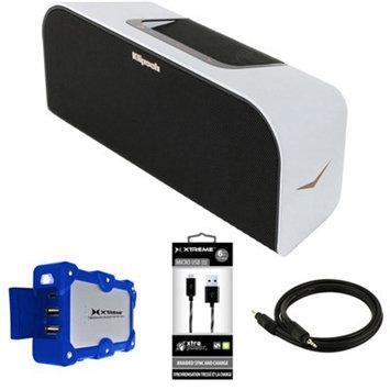 Klipsch Music Center KMC 3 Portable Speaker System White w/ Power Bank Bundle