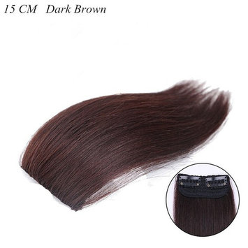 Moreal 100% Real Human Hair Straight Clip on Volume Hair Extensions Invisible Hairpiece for Women Thinning Hair (15CM, Dark Brown)