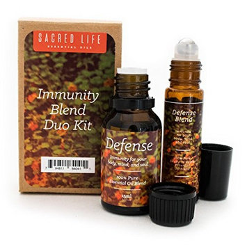 Immunity Essential Oil Blend Duo Kit | Includes Defense 15ml Full-Strength & 10ml Roll-On Blends | 100% Pure & Therapeutic | Stop Airborne Threats | Support Immune System | Immunity Blends