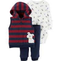 Child of Mine by Carter's Newborn Baby Boy Bodysuit, Vest, and Pants Outfit Set