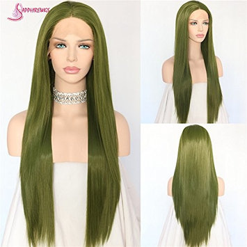 Sapphirewigs Straight Green Color Cosplay Synthetic Lace Front Daily Wigs