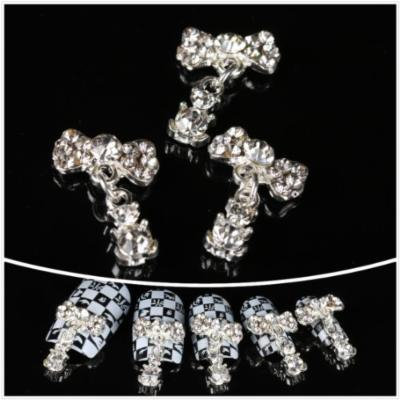 Nails gaga wholesale 100pcs bowknot Clear Rhinestone 3D Alloy Nail Art DIY nail design