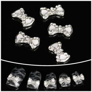 Nails gaga wholesale 100pcs White bowknot 3D Alloy Nail Art by CoCo-Shop