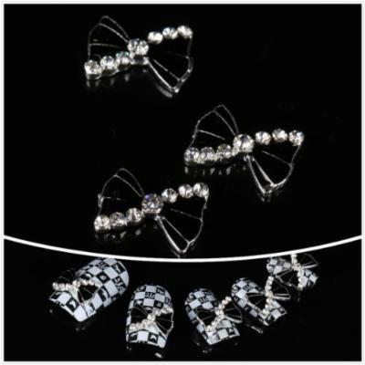 Nails gaga wholesale 100pcs Black bowknot 3D Nail Art decoration