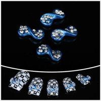Nails gaga wholesale 100pcs Blue Rhinestone bow tie 3D Alloy Nail Art / DIY Nail art tip by CoCo-Shop