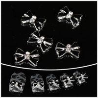 Nails gaga wholesale 100pcs Black bowknot 3D Alloy Nail Art DIY nail design