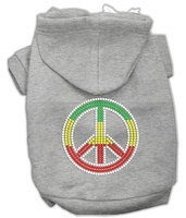 Mirage Pet Products 5471 SMGY Rasta Peace Sign Hoodie Grey S 10