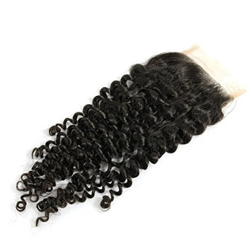 Moreyoungc Hair Hand Tied Brazilian Human Hair Closure Deep Curly Lace Base Top Closure Free Part 4