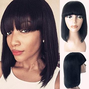 Enoya Human Hair Bob Wigs with Bangs Brazilian Yaki Machine Made Glueless Short Wigs (12