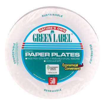 Green Label White Paper Plate 9''