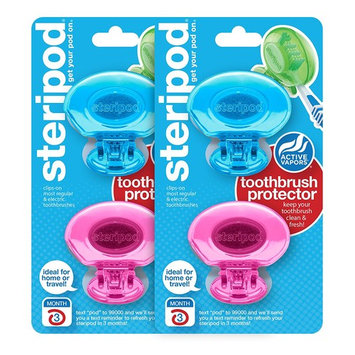 Steripod Clip-On Toothbrush Protectors: 2 Blue & 2 Pink (4 Total)