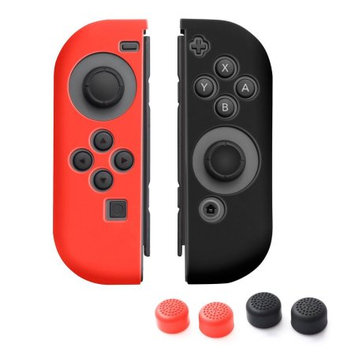 Nintendo Switch Joy-Con case, by Insten (Left RED + Right BLACK) Nintendo Switch Joy-Con Skin Case Cover with 2-Pcs Thumb Grip Stick Caps (Style 1) For Nintendo Switch Joy Con Left/Right Controller