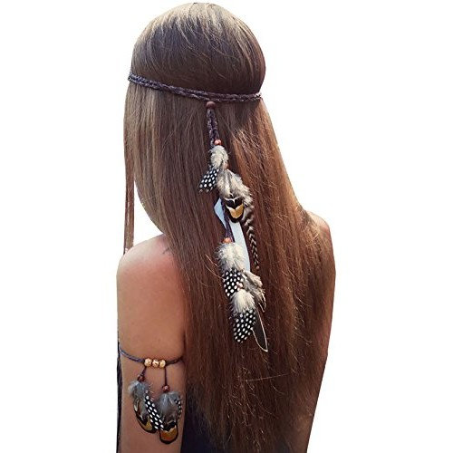 Set of 2 Bohemian Brown Feather Tassels Headband with Armband Gypsy Hippie Peacock Headwear Headdress Woman Girls Favorite Hair Accessories