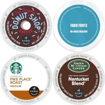 Faro Roasting Houses Medium Roast Coffee KCup Variety Pack 96 ct- Starbucks Pike Place, GreenMountain Nantucket, Faro Forte & CoffeePeople Donut Shop