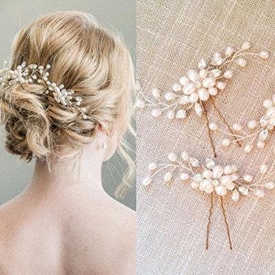Bridal Hair Pins Set, Wedding Crystal and Pearl Hair Pin for Bride and Bridesmaid (Set of 2)
