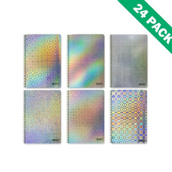 Bazic Notebook Spiral, College Ruled Holographic 1-subject Spiral Notebooks 24 Units