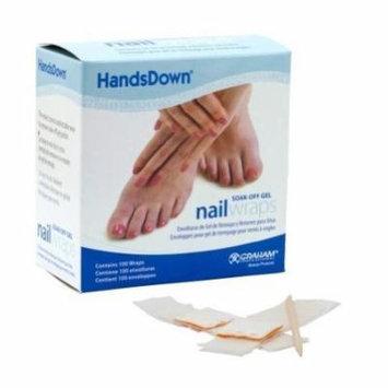 Graham HandsDown Soak Off 100 Nail Wraps Gel Polish Manicure Salon Wipes Remover by Graham Professional