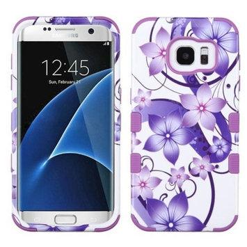 Asmyna Cell Phone Case for Samsung Galaxy S7 Edge - Purple Hibiscus Flower Romance/Electric Purple
