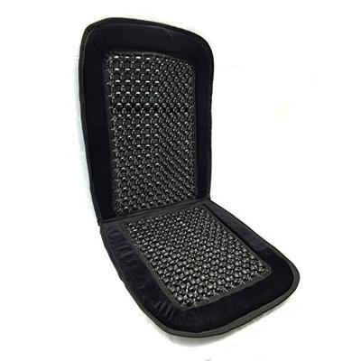 Black Bead Seat Cushion Premium Velour Padding Natural Wooden Massage