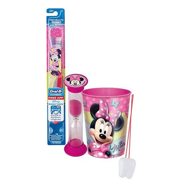 Disney Minnie Mouse Inspired 3pc. Bright Smile Oral Hygiene Set! Soft Manual Toothbrush, Crest Kids Sparkle Toothpaste & Mouthwash Rise Cup! Plus Bonus