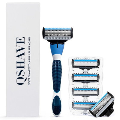 QSHAVE Blue Series Manual Men's Shaving Razor with X5 Blade (5-Blade) Replacement Cartridges/Refills