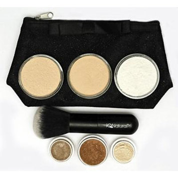 IQ Natural Large Natural Mineral Makeup Kit 12pc (GOLDEN TAN shade) - Concealer, Bronzer, Eye Shadow, Setting Powder, 2 Full Size Mineral Foundation - Create A Natural Flawless Look