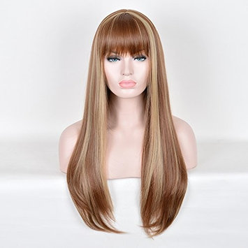 SiYi Fashion Women's Star Brown 27.5 Inch Long Straight Party Wigs