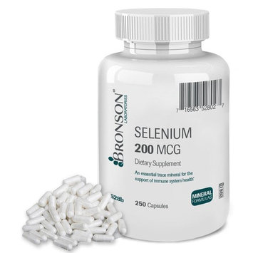 Bronson Selenium 200 Mcg for Thyroid, Prostate and Heart Health - Essential Trace Mineral with Superior Absorption, 250 Capsules