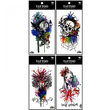 Spestyle fake tattoos that look real 4pcs fake temp tattoo stickers in one package, it's including Demon Ju,skull,beautiful girls temporary tattoos