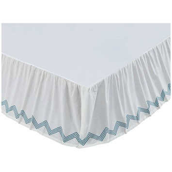 VHC Brands 29701 60 x 80 x 16 in. Laguna Queen Size Bed Skirt - Marshmallow, Turquoise Green