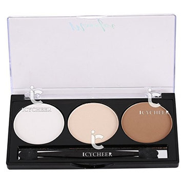 3 Colors Matte Makeup Face Powder Glow Kit Gleam Highlighter Bronzers Concealer (04)