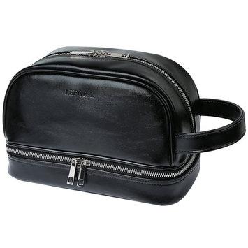 Leather Toiletry Organizer Bag for Men, Travel Shaving Dopp Kit for Bathroom Shower(Black)