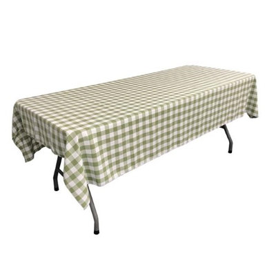 LA Linen TCcheck60x90-AppleGreenK46 Polyester Gingham Checkered Rectangular Tablecloth White & Apple - 60 x 90 in.