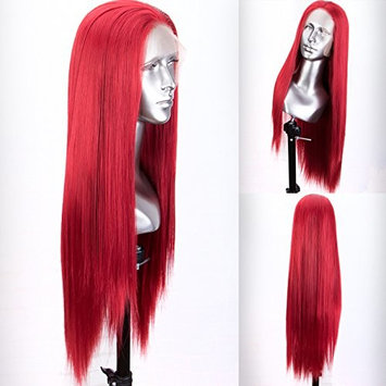 Persephone Red Lace Front Wig Half Hand Tied Glueless Straight Synthetic Wigs for Women Heat Resistant 24 Inches