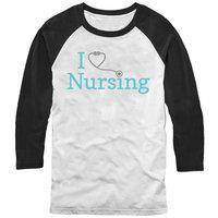 Chin Up Men's I Love Nursing Stethoscope Baseball Tee