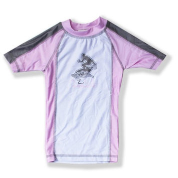 Azul Swimwear Azul Baby Girls Pink Gray Short Sleeve Trendy Solid Combo Rash Guard 18M