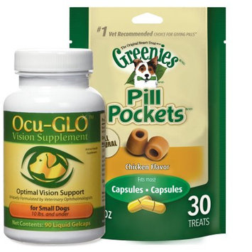 Combo Ocu-GLO Canine Vision Supplement for Small Dogs 10 lbs and Under, 90 Ct, with Greenies Pill Pockets